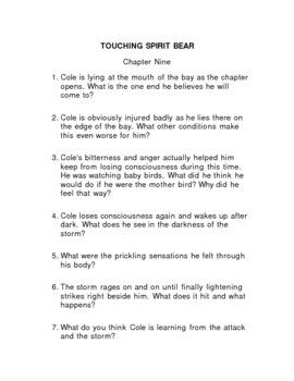 reading guide for touching spirit bear answers