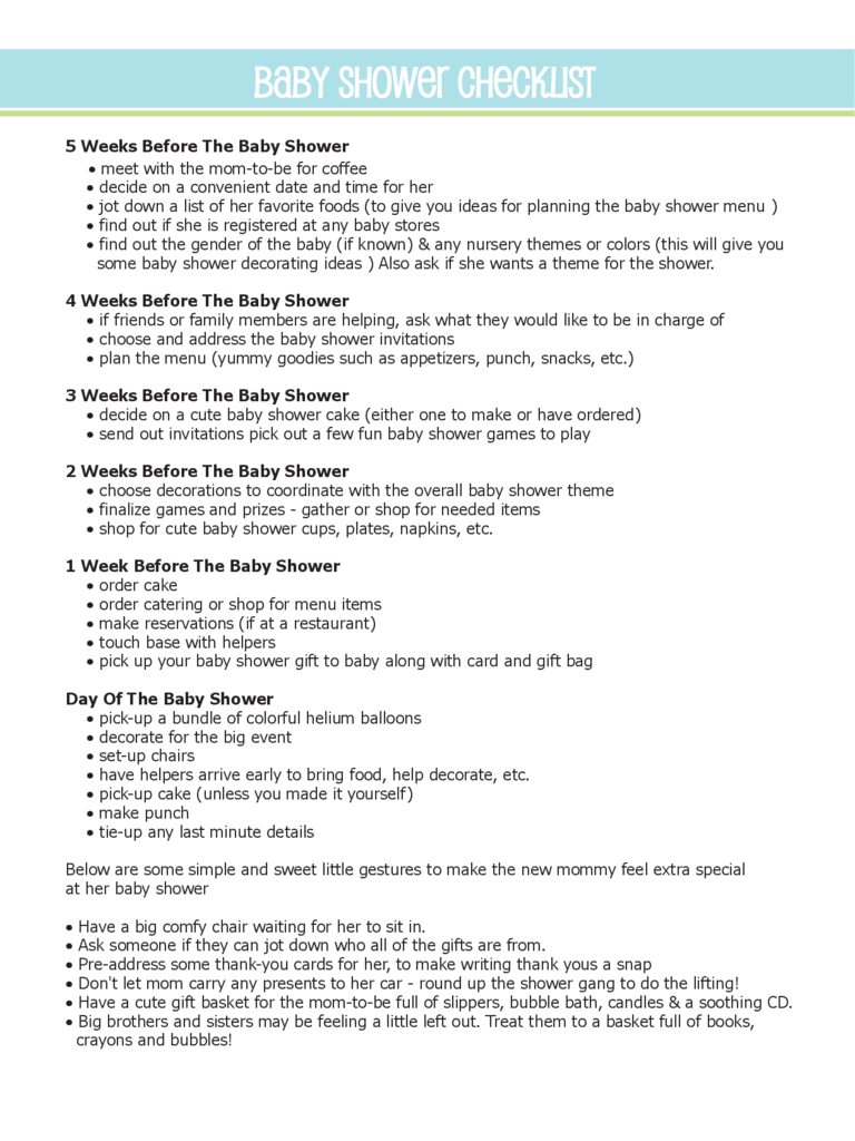 baby shower planning guide pdf